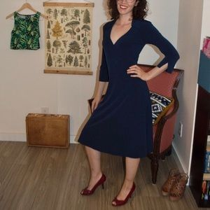 Midnight Blue Vintage 40s Style Collared Dress
